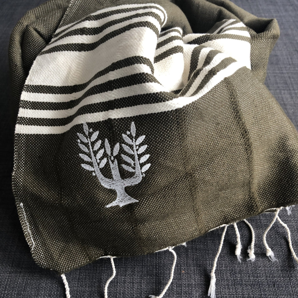 Amalfi Hammam Towel - Olive Green - Wildash London