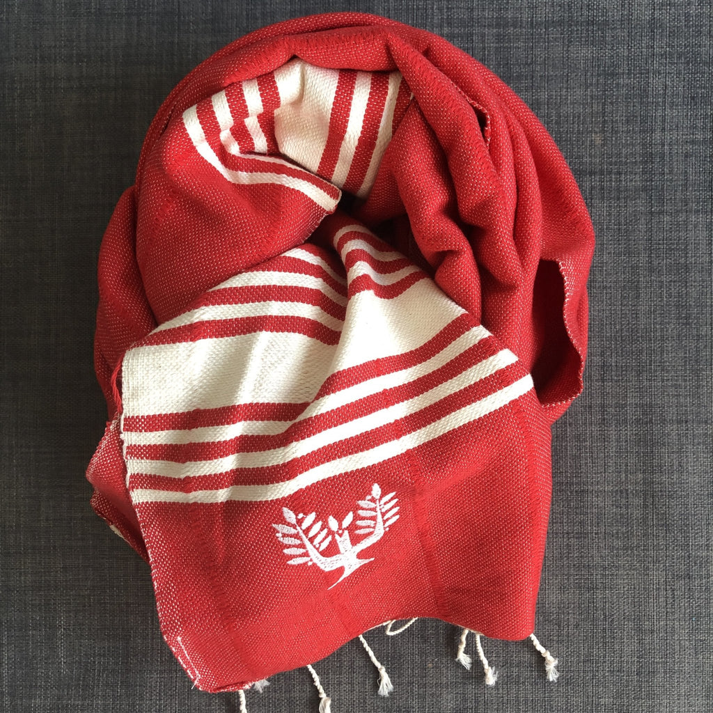 Amalfi Hammam Towel - Redcurrant - Wildash London