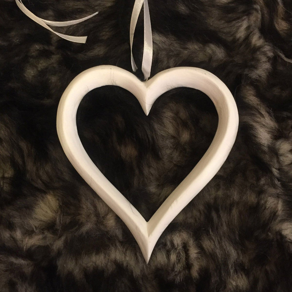 Antique White Wooden Heart on Ribbon 12cm - Wildash London