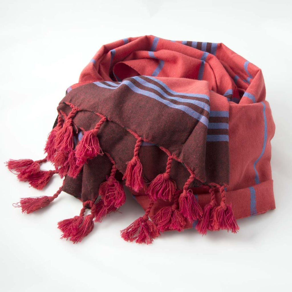Bedu Hammam Towel Red/Blue - Wildash London
