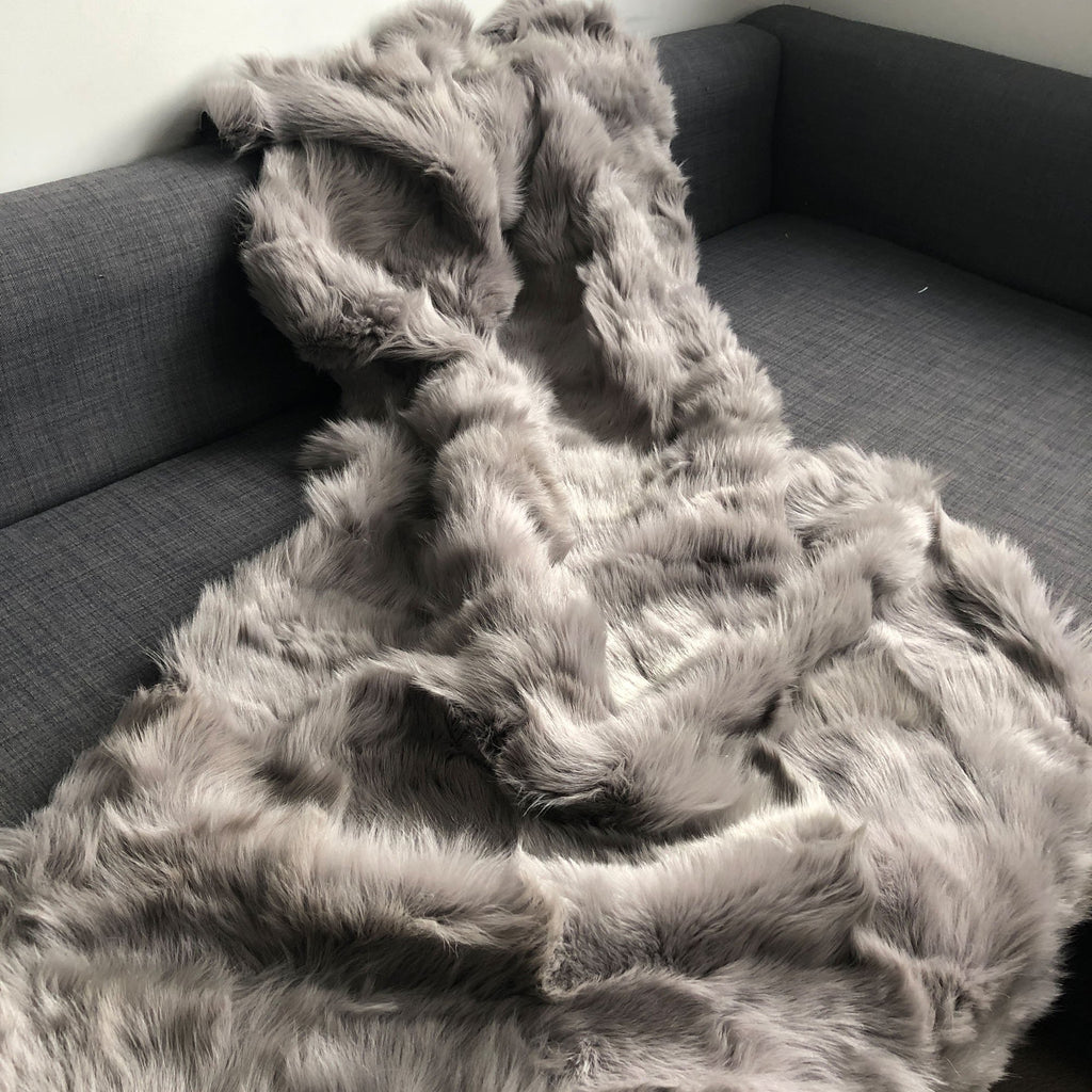 Black Label Tuscan Shearling Throw / Rug 100cm x 150cm | Albatross Grey - Wildash London