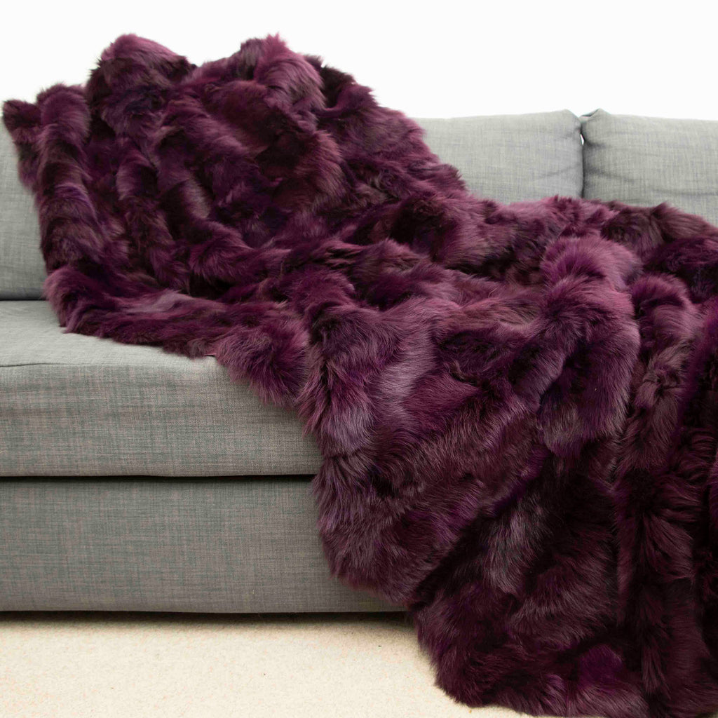 Bordeaux Toscana Shearling Throw | Rug | 130cm x 160cm - Wildash London