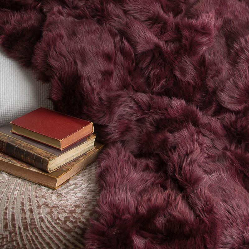 Bordeaux Tuscan Shearling Rug | Throw | 165cm x 235cm - Wildash London