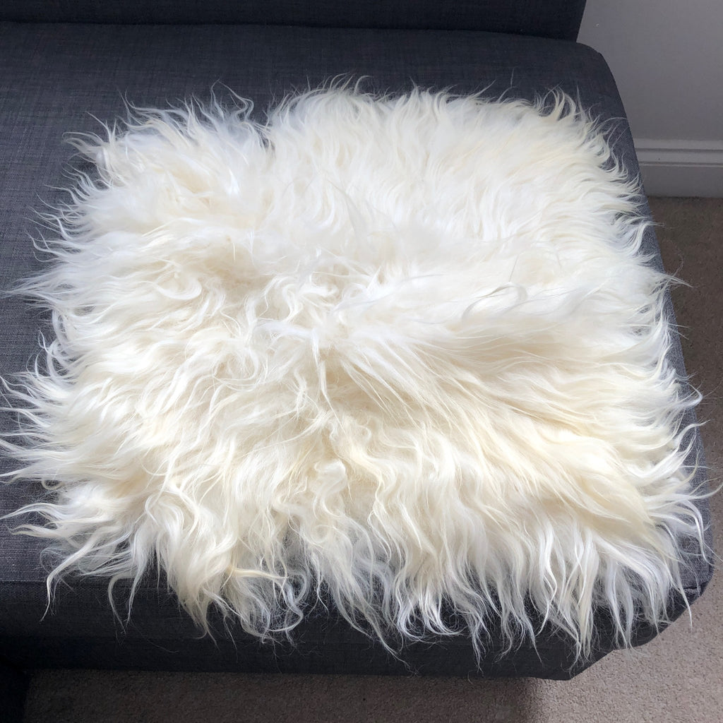 British Curly Sheepskin Seat Cover Ivory Cream White ::: Square 37cm - Wildash London