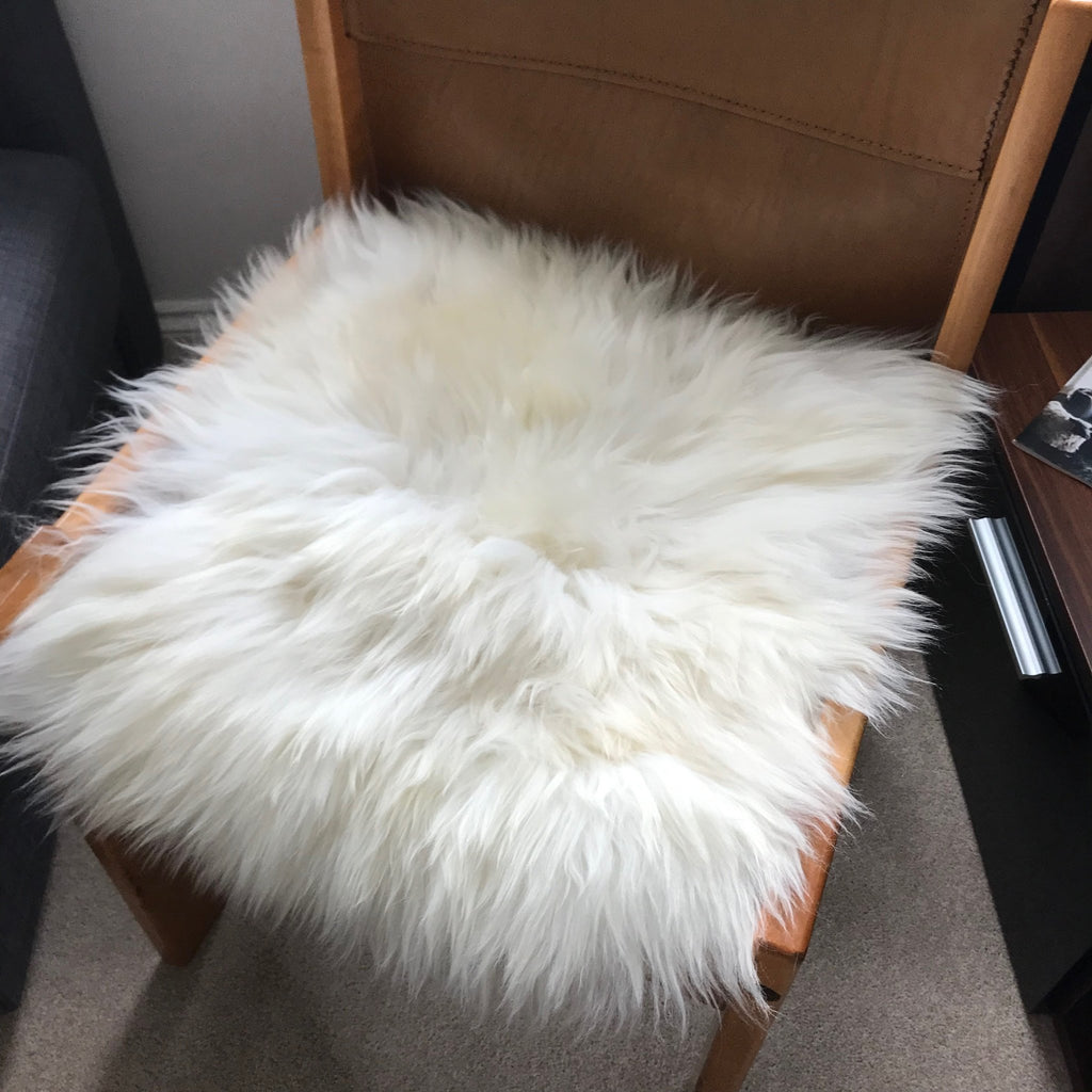 British Sheepskin Seat Cover Ivory Cream White ::: Square 37cm - Wildash London