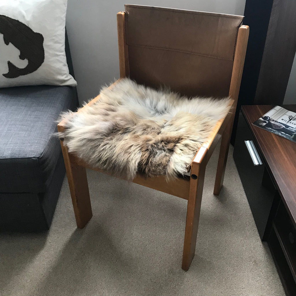 British Sheepskin Seat Cover Natural Melange Browns ::: Square 37cm - Wildash London