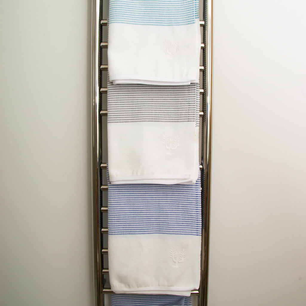 Cancun Striped Hammam Towel | Teal - Wildash London