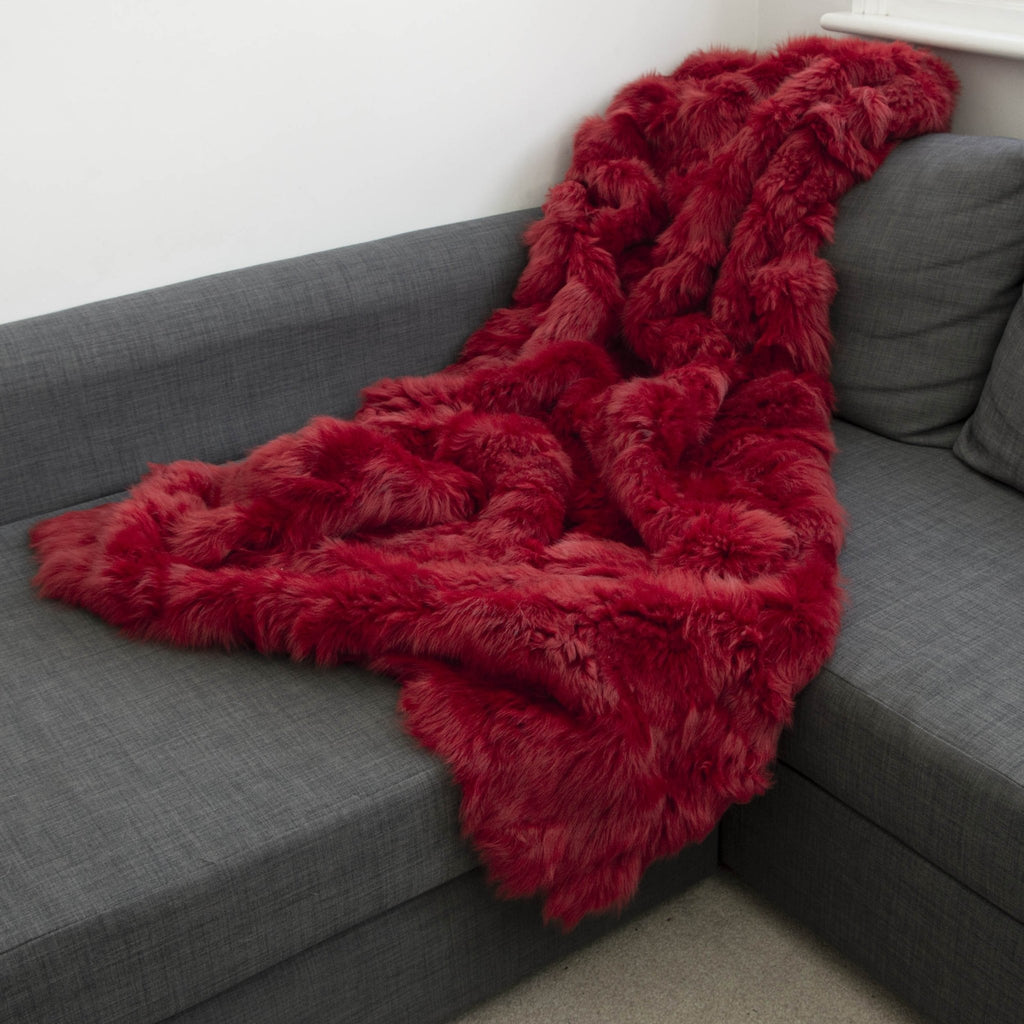 Cherry Red Shearling 160cm x 220cm - Wildash London