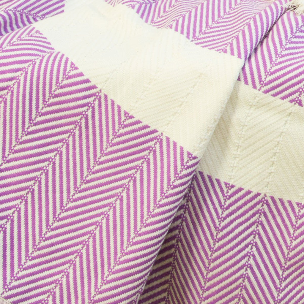 Chevron Organic Cotton Heavyweight Throw - Dewberry - Wildash London