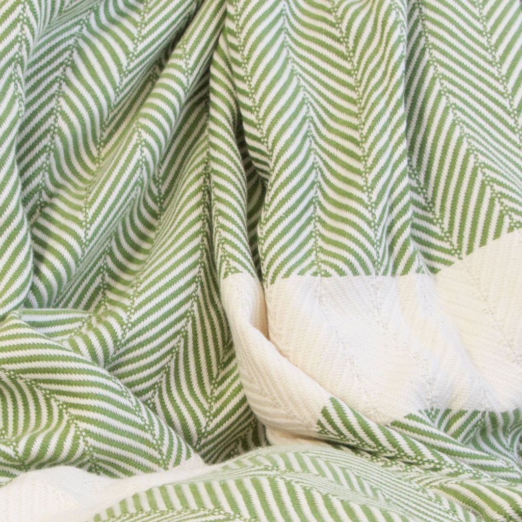 Chevron Organic Cotton Heavyweight Throw - Olive - Wildash London