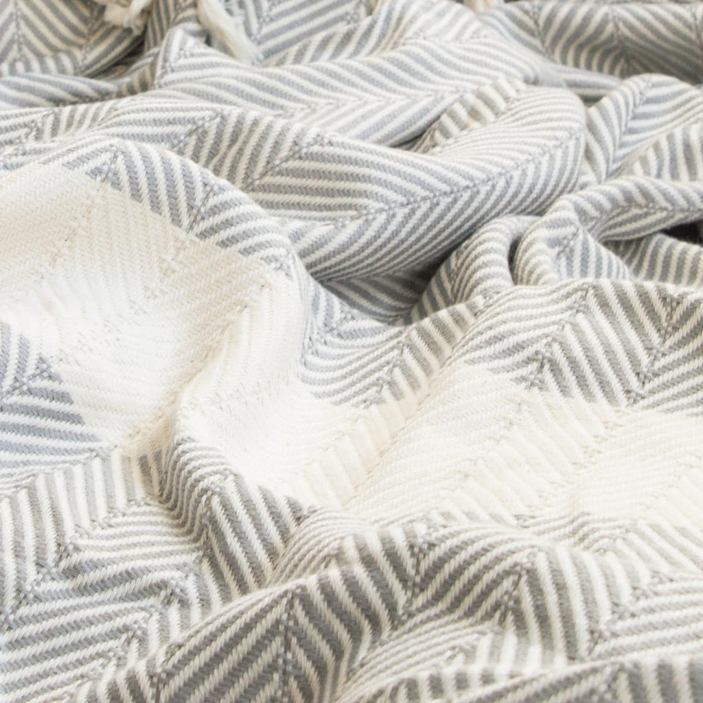 Chevron Organic Cotton Heavyweight Throw - Pewter - Wildash London
