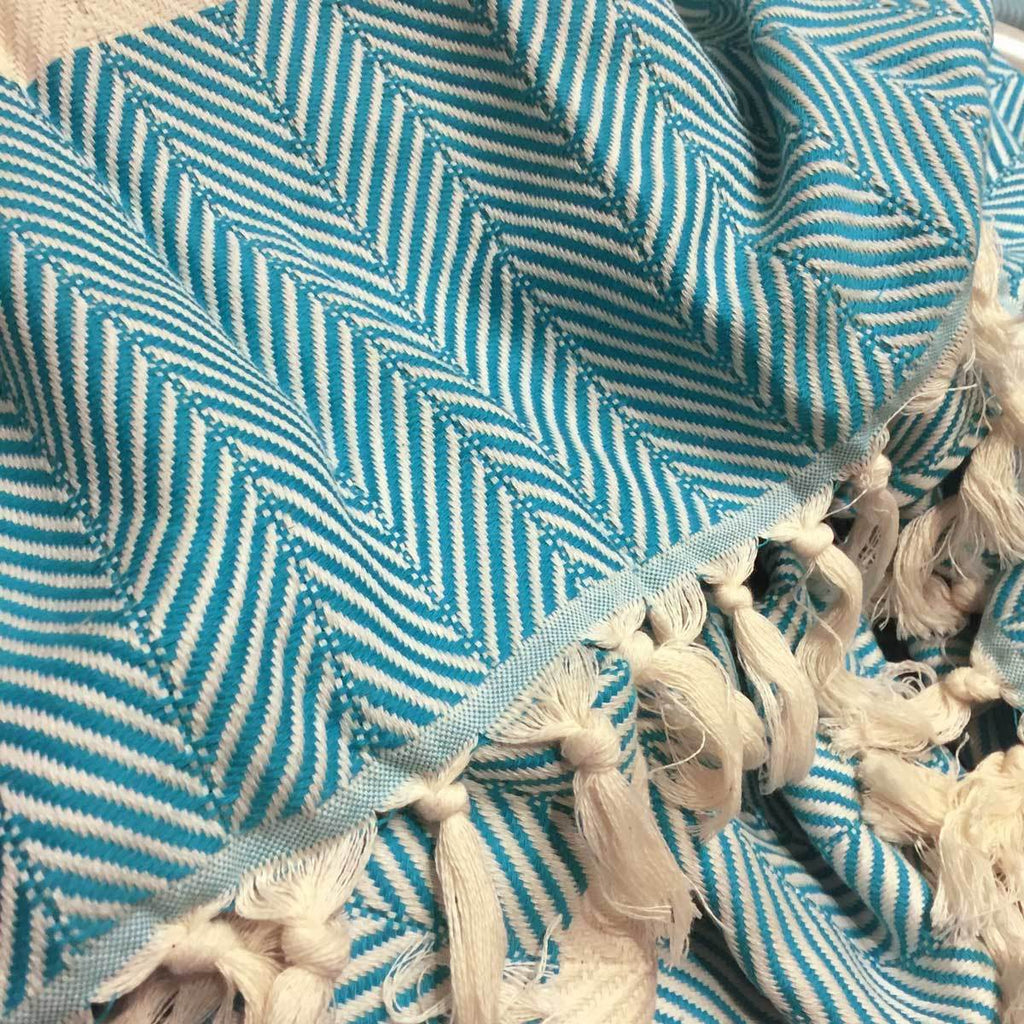 Chevron Organic Cotton Heavyweight Throw - Teal - Wildash London