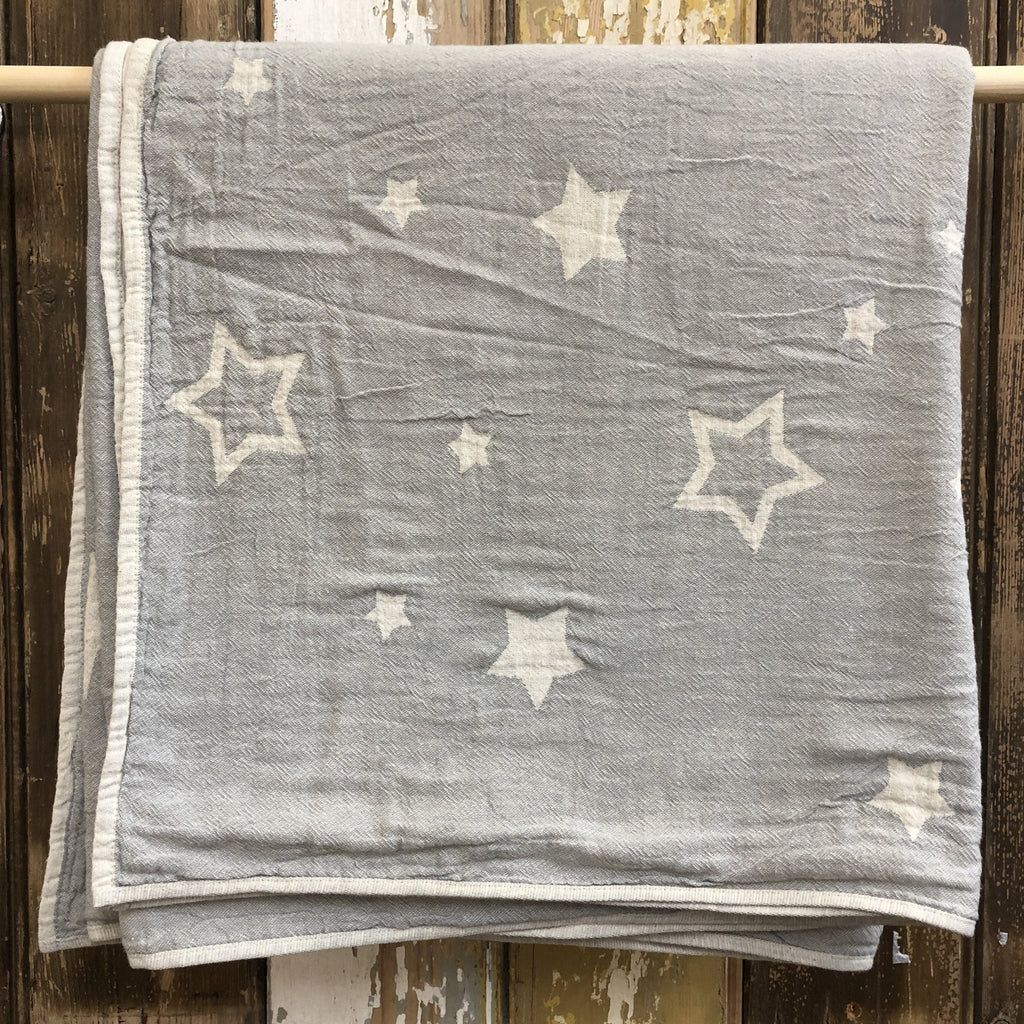 Constellations Jacquard Baby Blanket / Throw 100% Cotton | Dove Grey - Wildash London