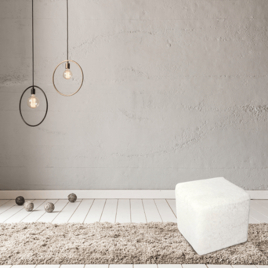 Cubist Pouffe Icelandic White Shorn Sheepskin, Sheepskin Pouffe, Footstool - Wildash London