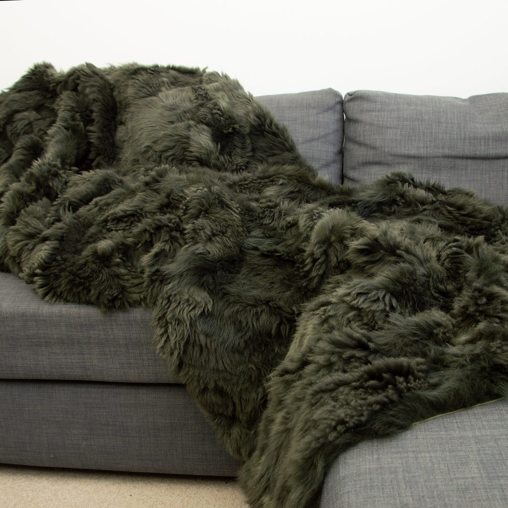 Dark Olive Green Tuscan Shearling Throw | Rug | 240cm x 260cm - Wildash London