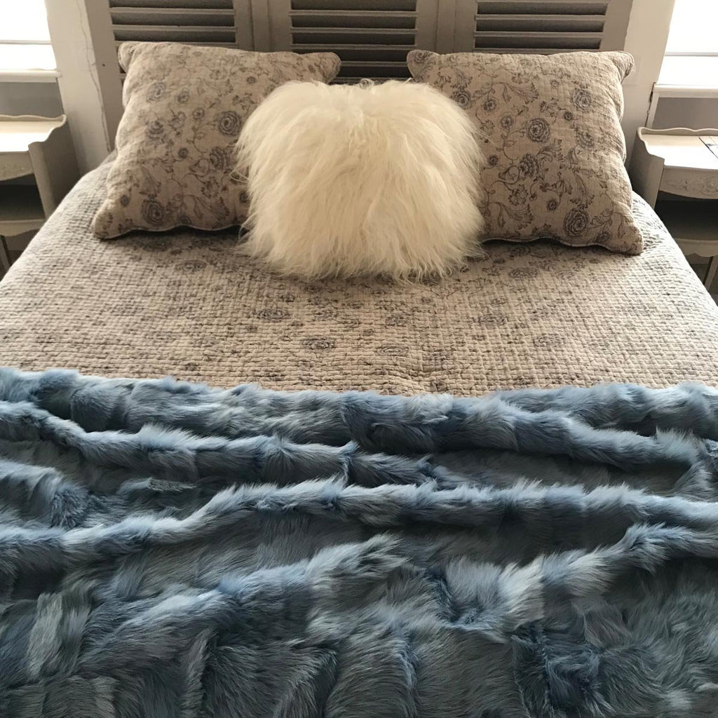 Duck Egg Blue Shearling Rug / Throw 120cm x 210cm - Wildash London