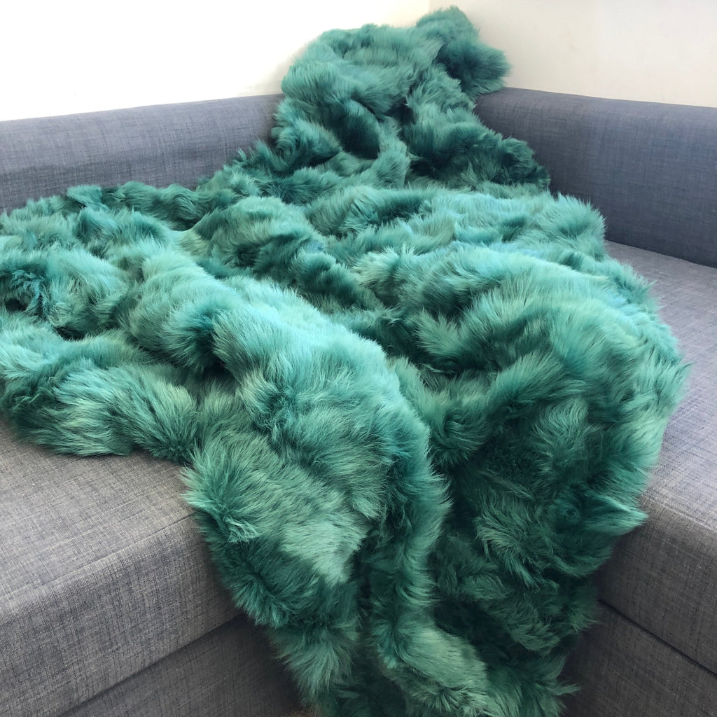 Emerald Green Shearling Throw 170cm x 230cm - Wildash London