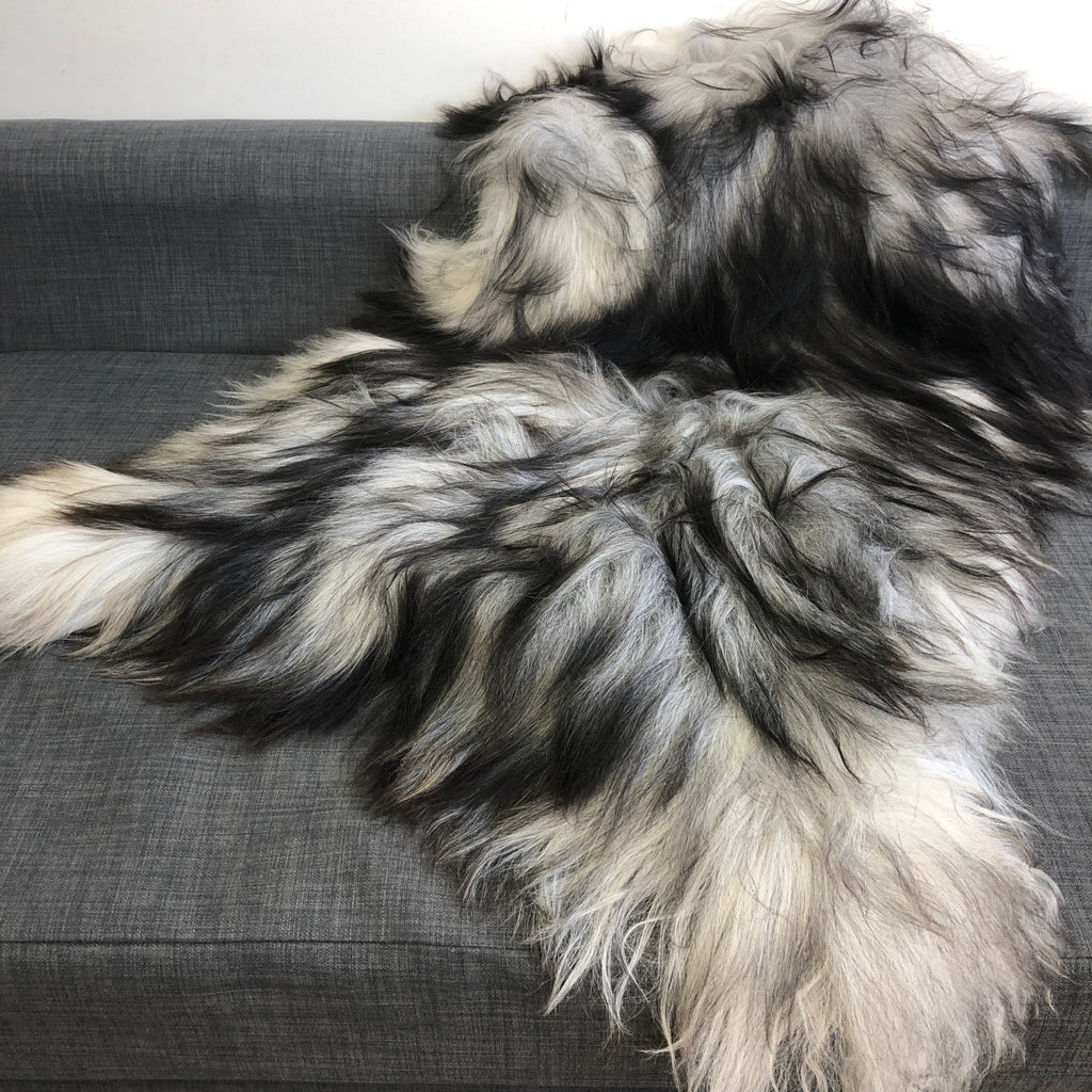 FABULOUS XL Icelandic Natural Grey Undyed Longhair Sheepskin Unique Sheep Skin Ecofriendly Sustainably Tanned UN-2001 - Wildash London