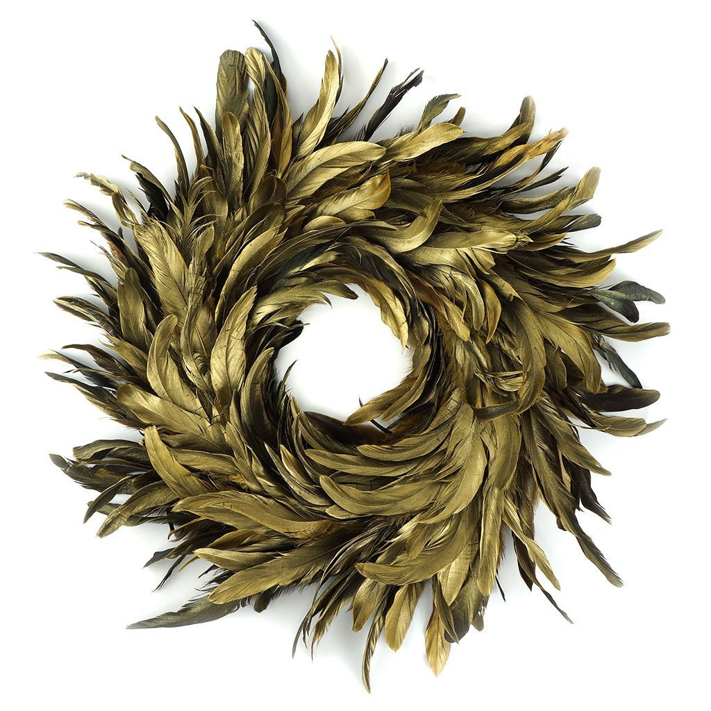 Gold Schlappen Feather Wreath 45cm - Wildash London