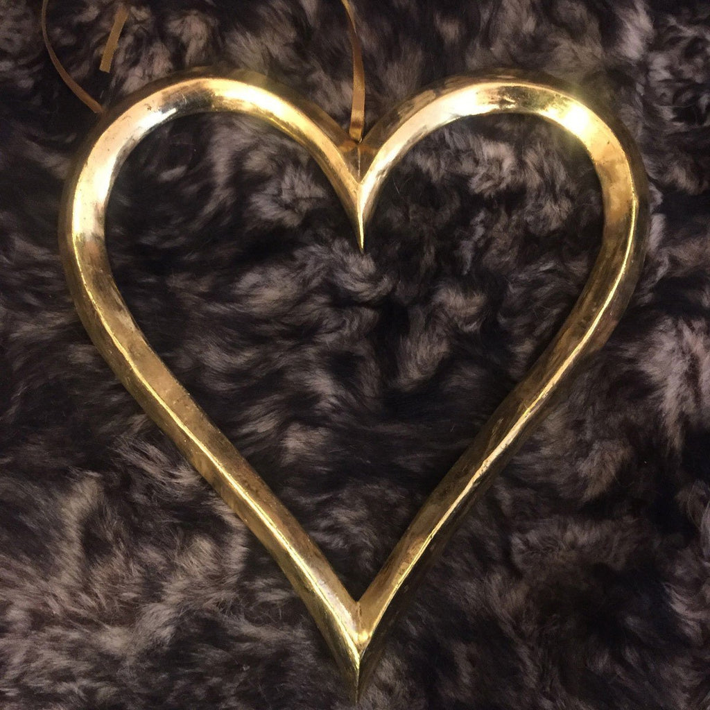 Golden Wooden Open Heart on Ribbon 30cm - Wildash London