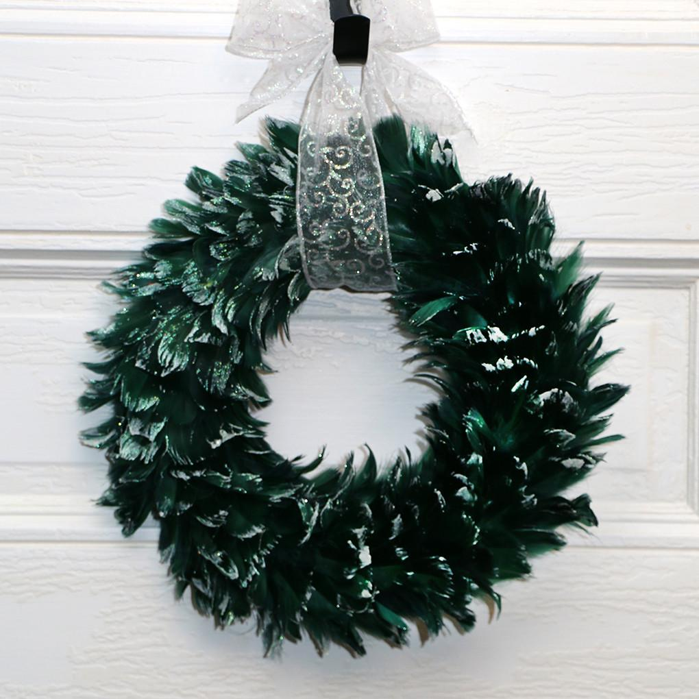 Goose Feather Wreath Hunter Green with Frosted Glitter Tips - Wildash London