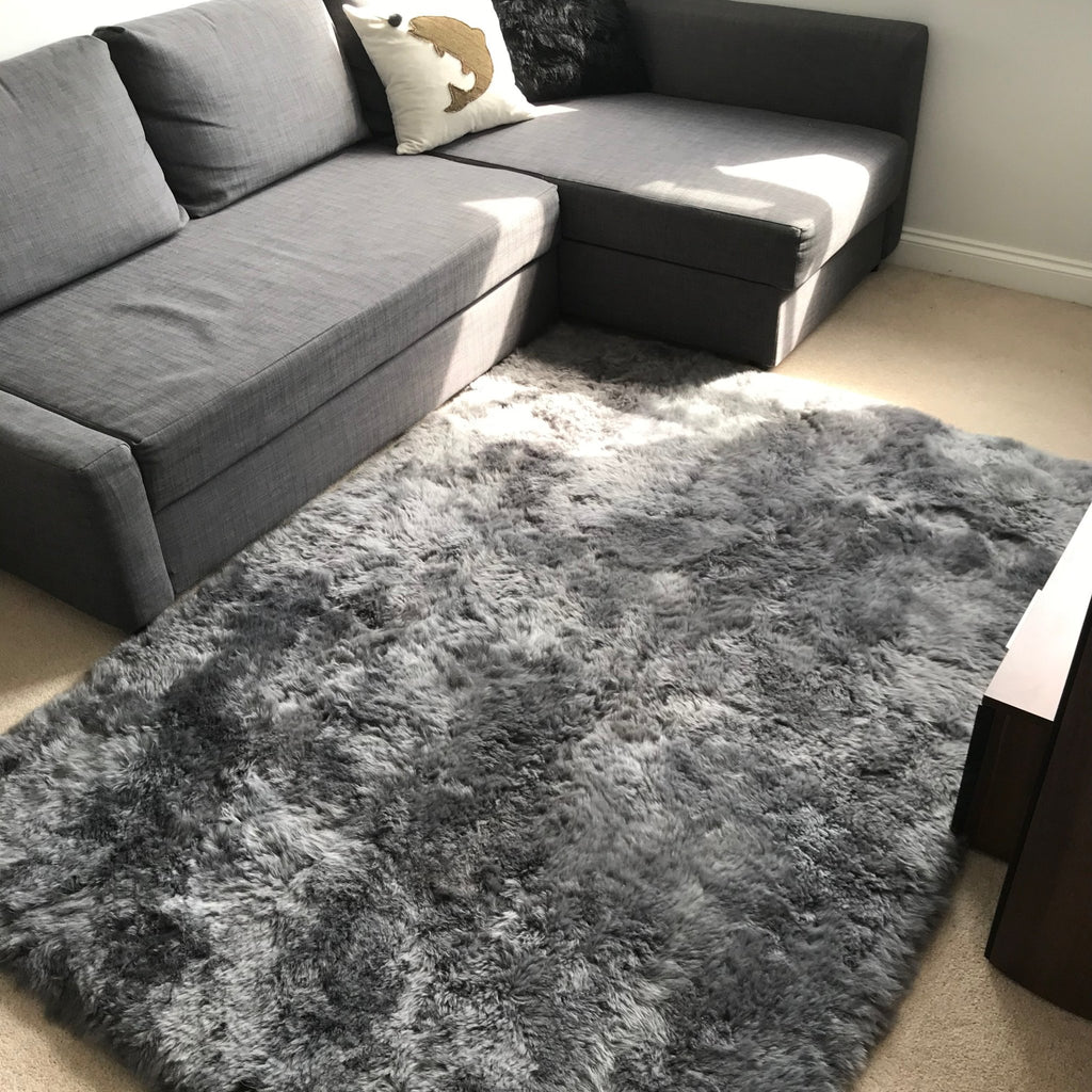 Gorgeous Icelandic Sheepskin Rug Cool Grey Shorn 50mm Straight Edges Rectangular ALL SIZES AVAILABLE - Wildash London