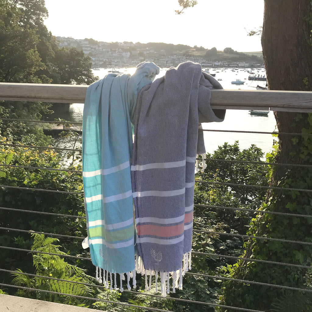 Hampton Hammam Towel | Navy & Orange | Wildash London - Wildash London