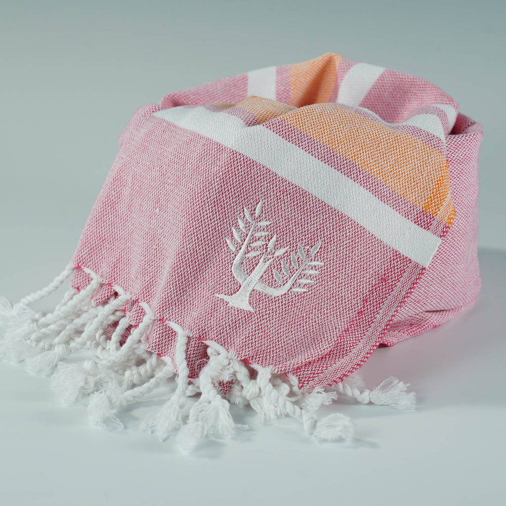 Hampton Hammam Towel | Pink & Orange | Wildash London - Wildash London