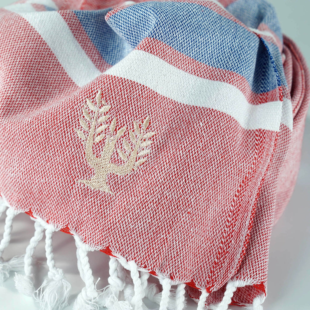Hampton Hammam Towel | Red, White & Blue | Wildash London - Wildash London