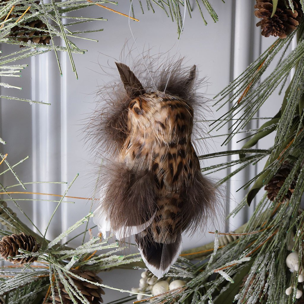 Handmade Brown Feather Owl Ornament - Wildash London