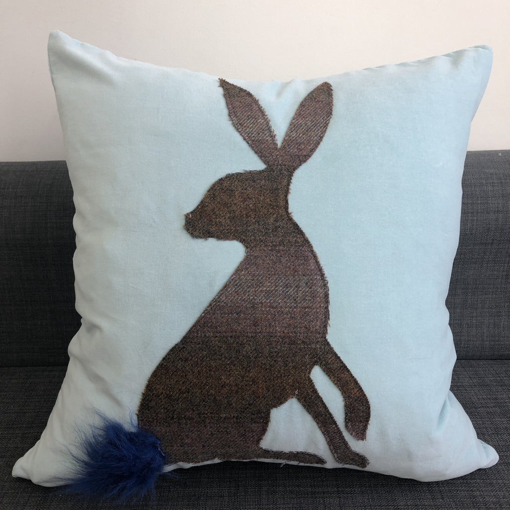 Harriet the Hare Cotton Velvet Cushion with Islay Tweed Easter Gift Easter Bunny Sky Blue - Wildash London