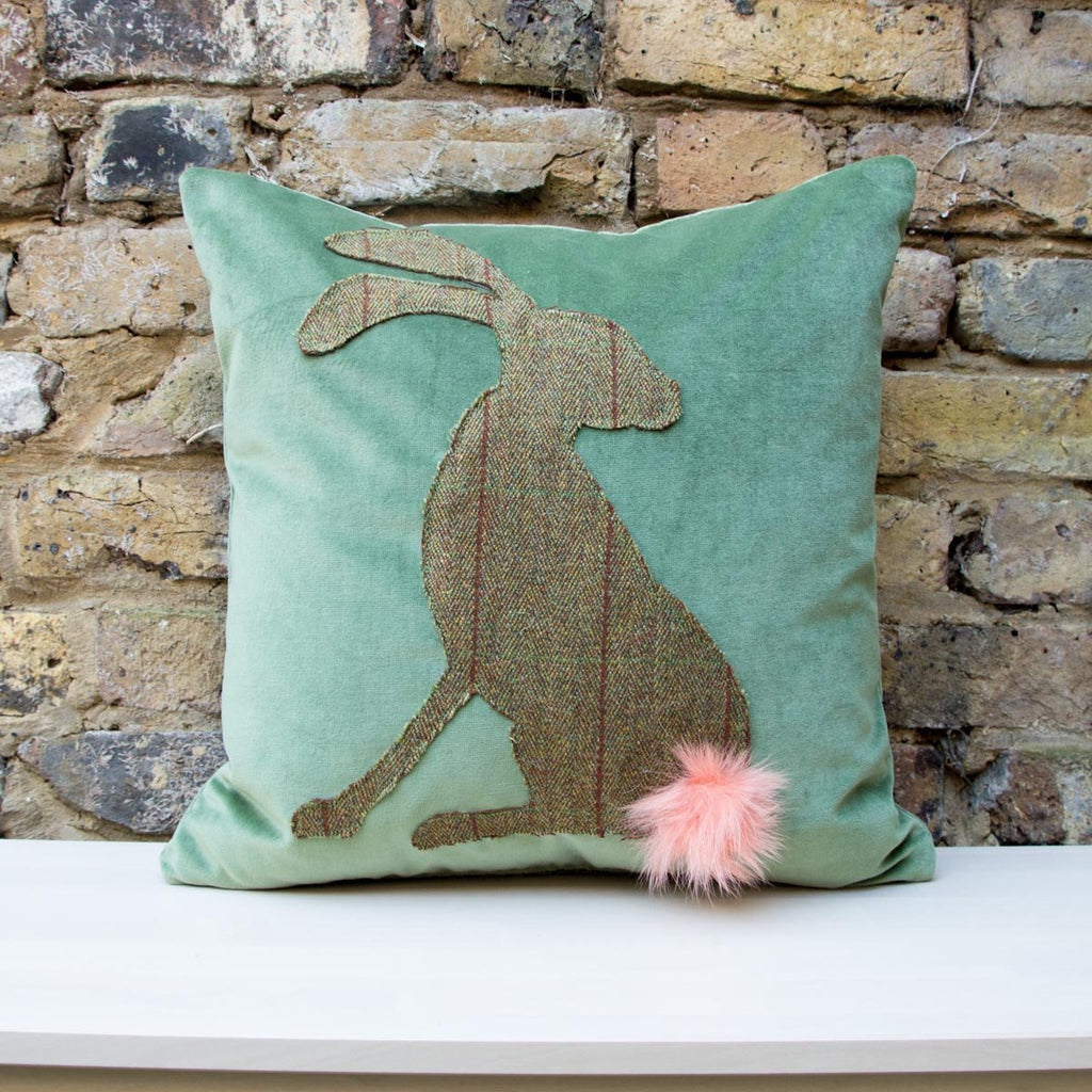 Harrold the Hare Lop Eared Islay Tweed Countryside Cushion - Wildash London