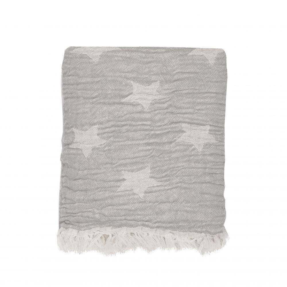 Head In The Clouds Soft Weave Star Throw - Dove Grey - Wildash London