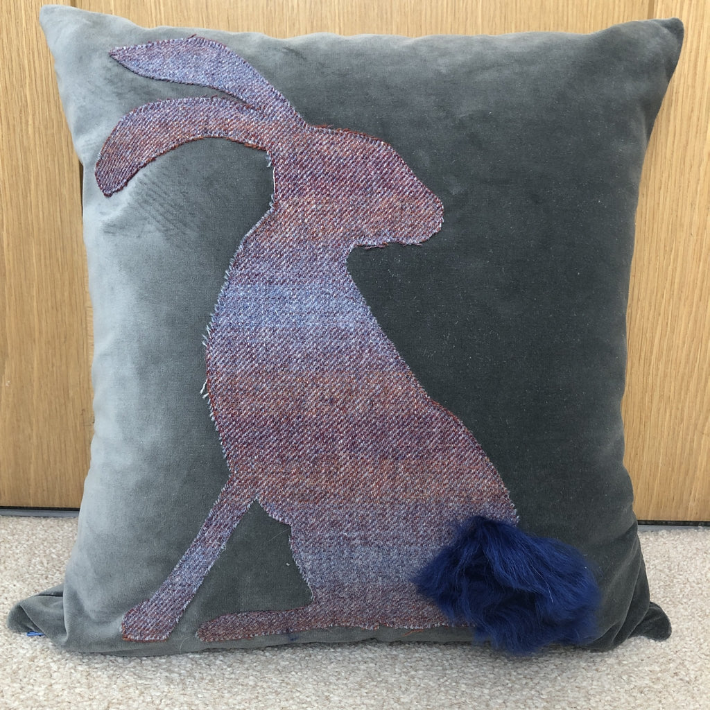 Henry the Hare Lop Ear Cotton Velvet Cushion with Islay Tweed Easter Gift Easter Bunny Slate Blue - Wildash London