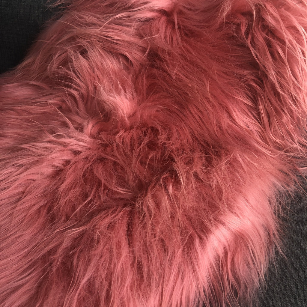 Icelandic Coral Pink Sheepskin Rug 100% Natural Sheep Skin Throw 90-100cm M - Wildash London