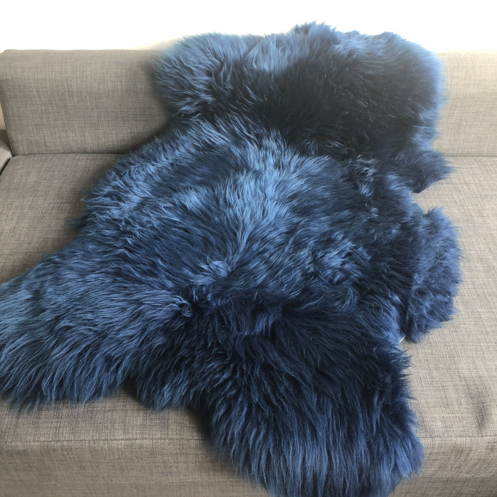 Icelandic Longhair Sheepskin Bright Navy Blue L 100-110cm - Wildash London