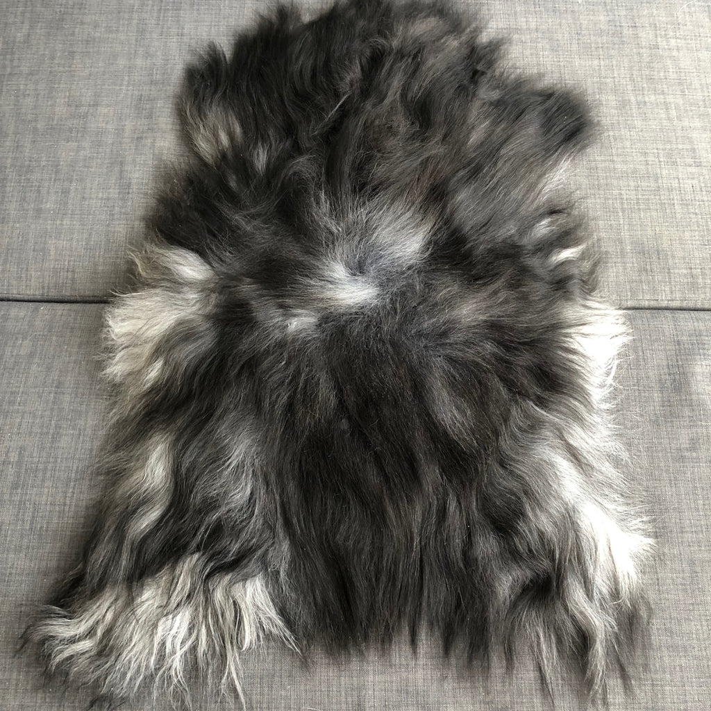 Icelandic Natural Dark Greys Undyed Longhair Sheepskin Ecofriendly Sustainably Tanned - Wildash London
