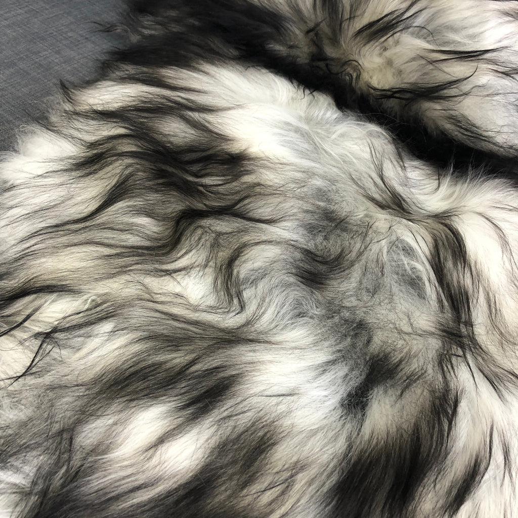 Icelandic Natural Grey Undyed Longhair Sheepskin Unique Ecofriendly Sustainably Tanned 0216ILLGR04 - Wildash London
