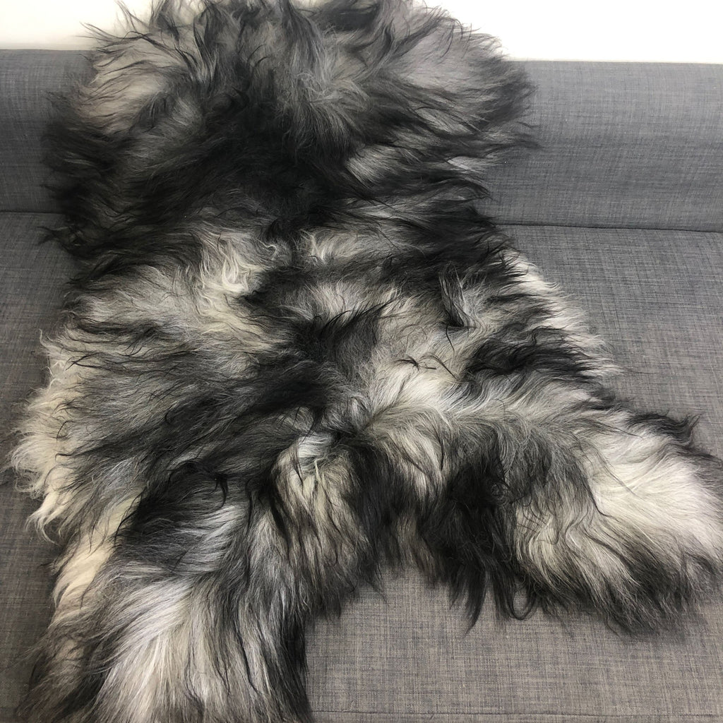 Icelandic Natural Grey Undyed Longhair Sheepskin Unique Ecofriendly Sustainably Tanned 1204ILGM-09 - Wildash London