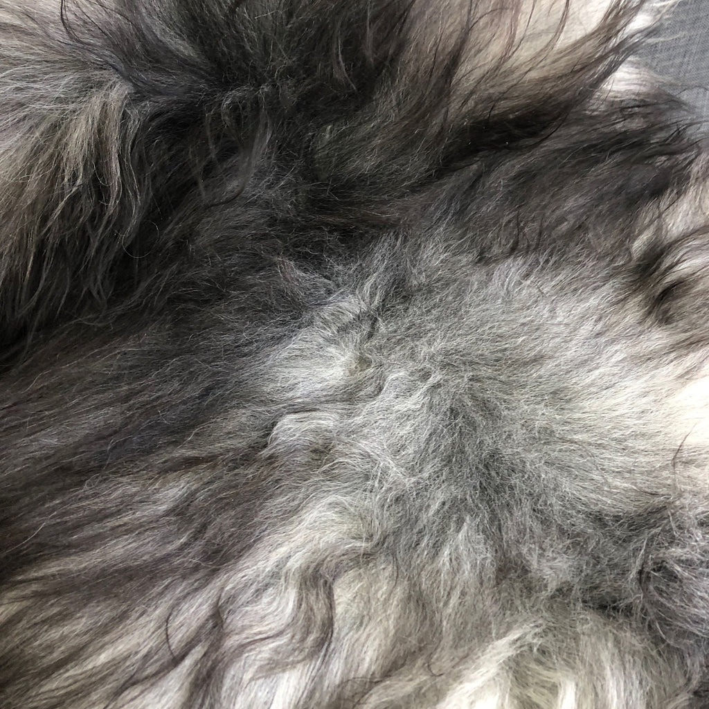 Icelandic Natural Grey Undyed Longhair Sheepskin Unique Ecofriendly Sustainably Tanned 1204ILGM-10 - Wildash London