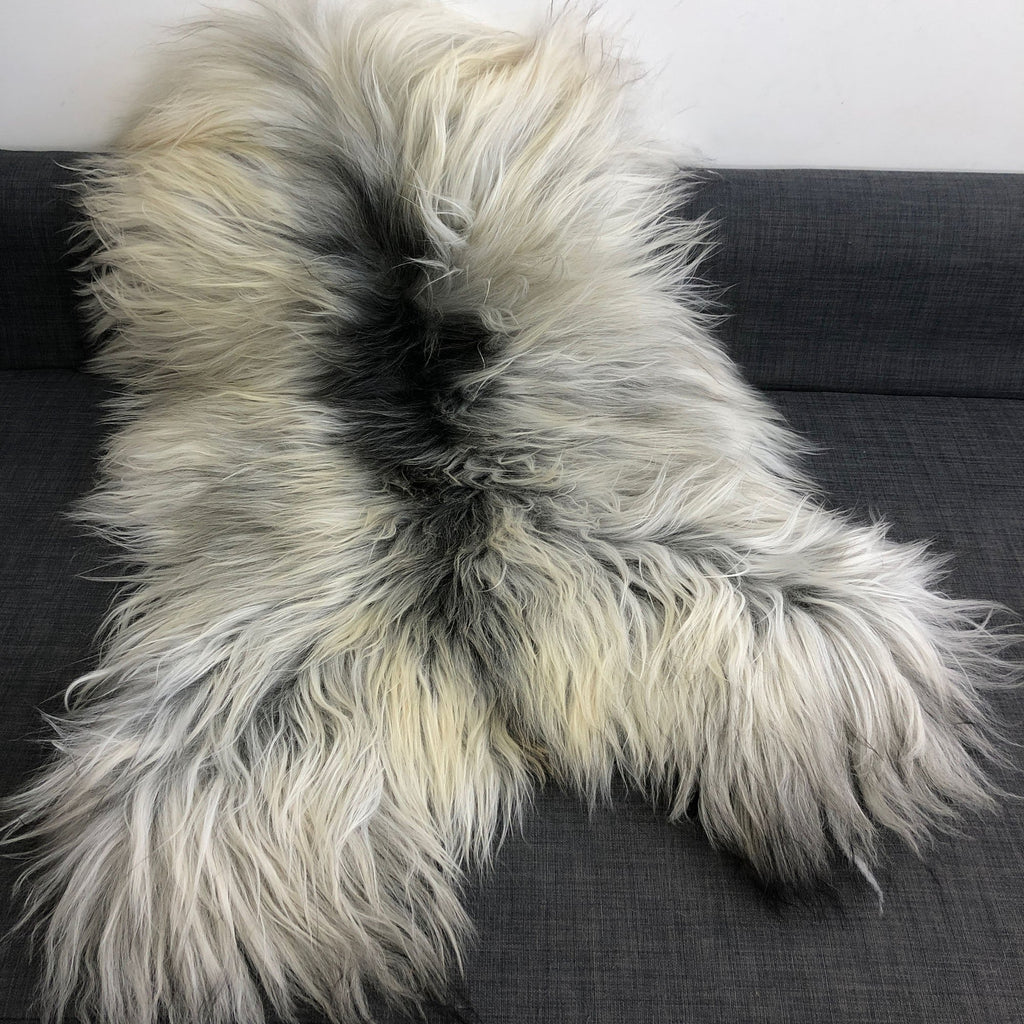 Icelandic Natural Grey Undyed Longhair Sheepskin Unique Ecofriendly Sustainably Tanned 1204ILGM-11 - Wildash London