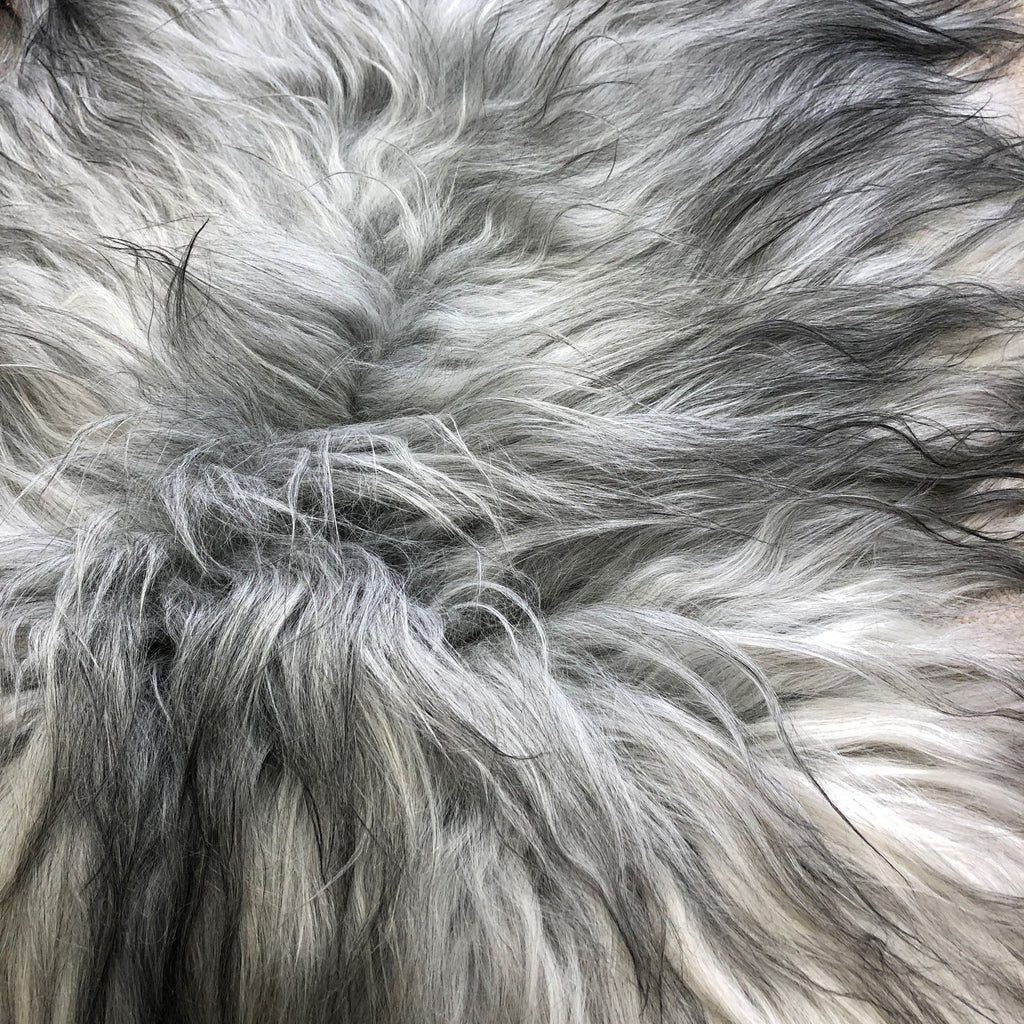 Icelandic Natural Grey Undyed Longhair Sheepskin Unique Ecofriendly Sustainably Tanned 1204ILGM-14 - Wildash London