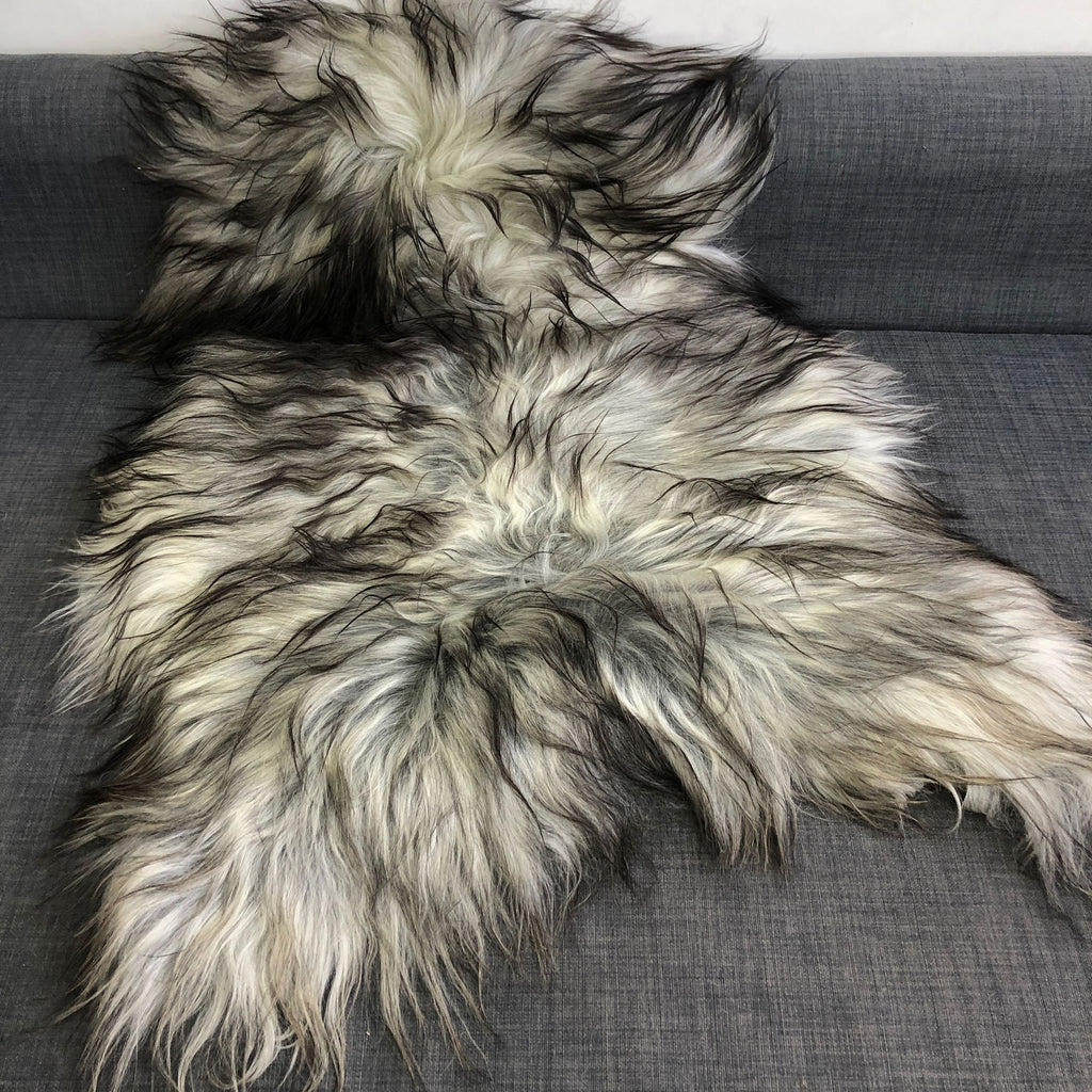 Icelandic Natural Grey Undyed Longhair Sheepskin Unique Ecofriendly Sustainably Tanned 1204ILGM-15 - Wildash London