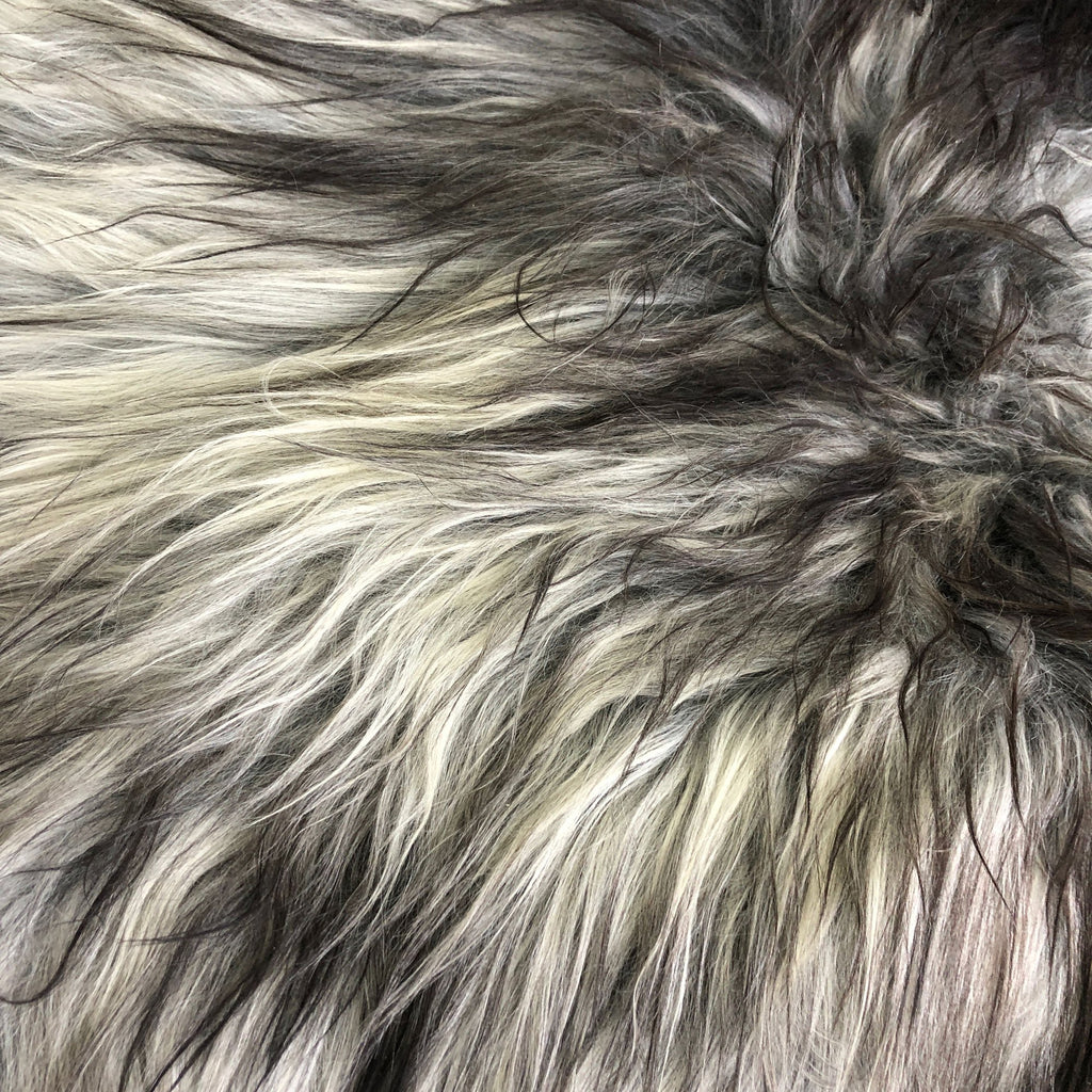 Icelandic Natural Grey Undyed Longhair Sheepskin Unique Ecofriendly Sustainably Tanned 1204ILGM-16 - Wildash London