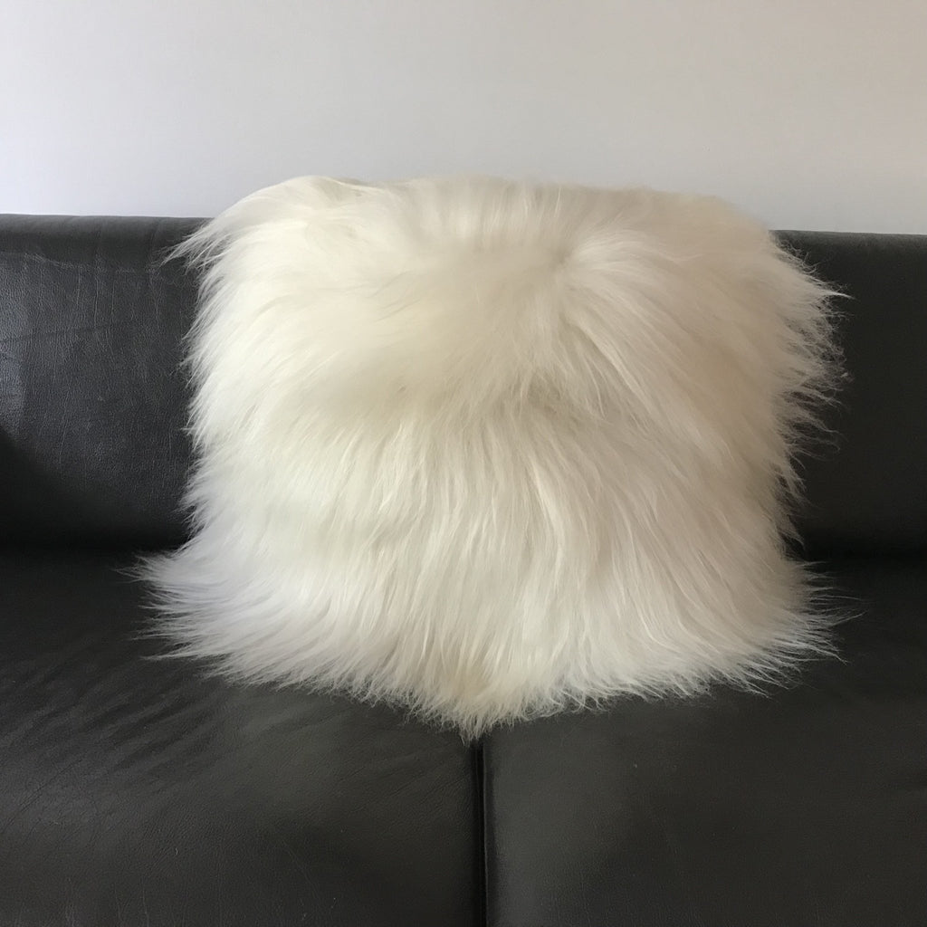 Icelandic Real Sheepskin Cushion Champagne 55cm Square Cream Ivory White UK - Wildash London