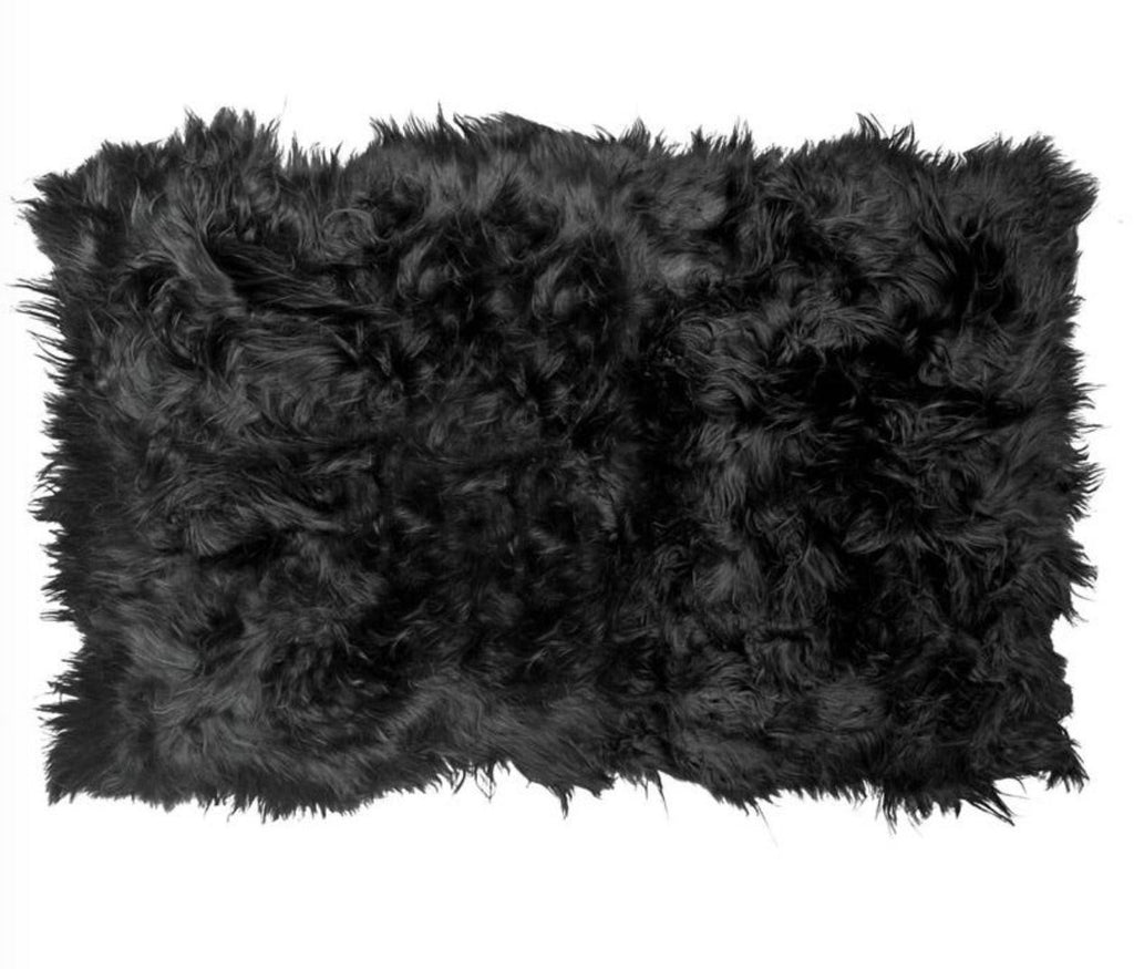 Icelandic Sheepskin Long Fur Rug 100% Natural Black Sheep Skin Throw ALL SIZES available Double, Triple, Quad, Penta, Sexto, Octo - Wildash London
