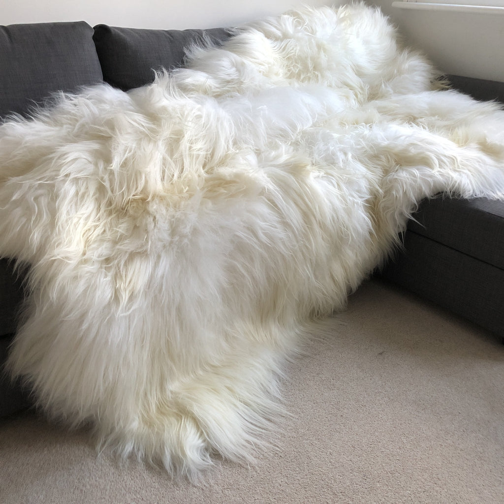 Icelandic Sheepskin Long Fur Rug 100% Natural White Sheep Skin Throw ALL SIZES available Double, Triple, Quad, Penta, Sexto, Octo - Wildash London