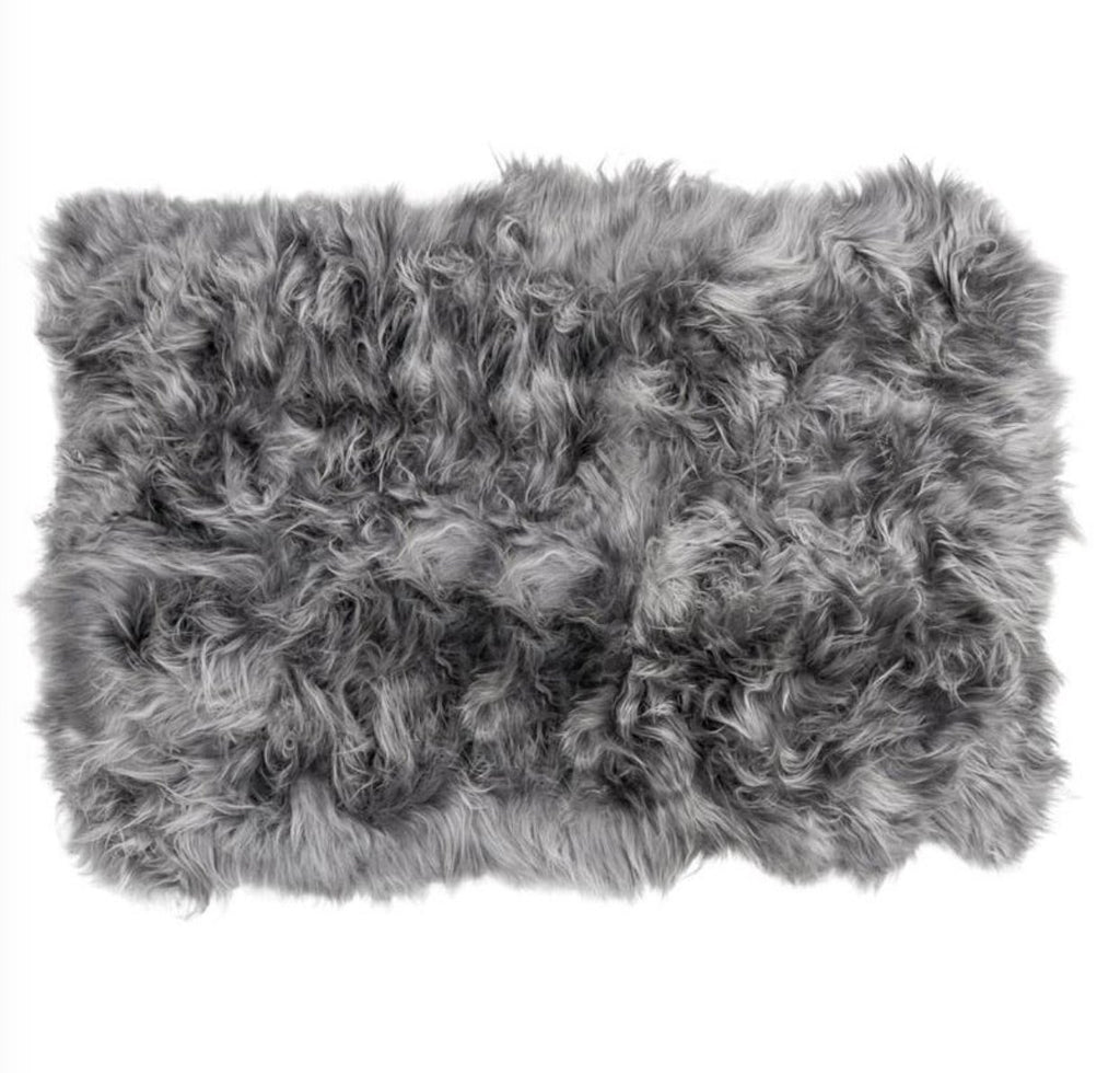 Icelandic Sheepskin Long Fur Rug Cool Grey 100% Sheep Skin Throw ALL SIZES available Double, Triple, Quad, Penta, Sexto, Octo - Wildash London