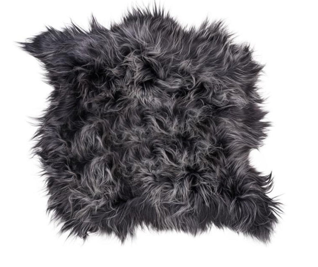 Icelandic Sheepskin Long Fur Rug Graphite Grey 100% Sheep Skin Throw ALL SIZES available Double, Triple, Quad, Penta, Sexto, Octo - Wildash London