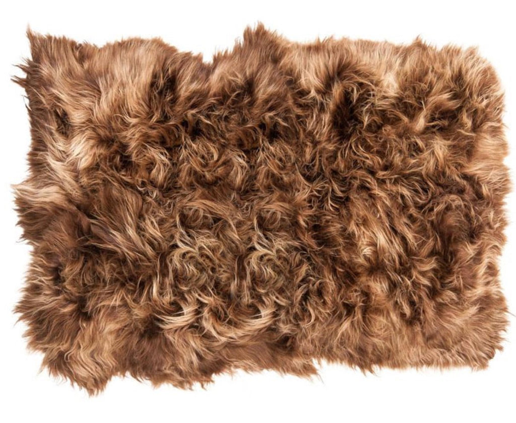 Icelandic Sheepskin Long Fur Rug Russet Rich Brown 100% Sheep Skin Throw ALL SIZES available Double, Triple, Quad, Penta, Sexto, Octo - Wildash London